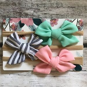 Other - Brand New Set of 3 Baby Girl Fabric Bow Headbands